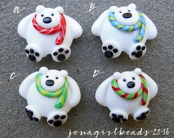 North Pole-a-Bears Focal Lampwork Bead