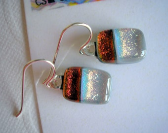 Petite Earrings Dichroic Glass Copper and Pearl Gray Two Tone .925 Sterling Silver Petite Fused Kiln Glass Jewelry Fall Colors Lightweight