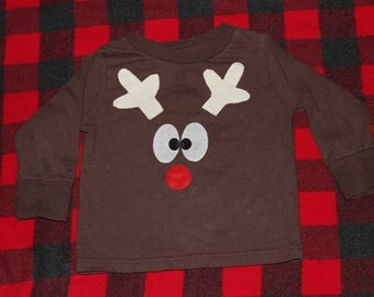 READY TO SHIP 4T reindeer long sleeve shirt with tail on the back