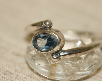 Silver Ring, Handmade Ring, Sterling Silver Ring, Blue Topaz Ring, Blue Stone Ring ,Stackable Rings,Birthstone Ring,