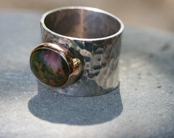 Unikate Ring, Hammered Silver Ring , Handmade Ring ,Sterling Silver Ring, Silver and Gold , Hammered Silver,Wide Ring,