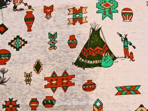 Vintage fabric 1960s knit fabric native american indian for Knit fabric childrens prints