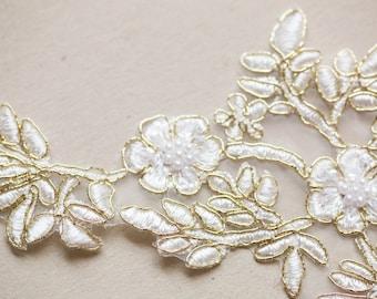 Gold bridal lace applique - AppSet-41 Gold