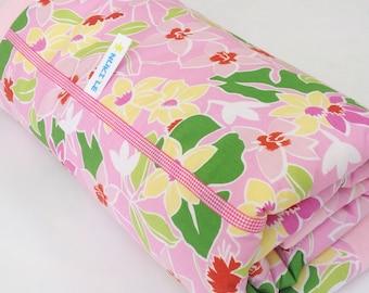 Pink Baby blanket, Pink Flowers print, baby blanket with name, tropical baby blanket, Baby bedding Tropical nursery
