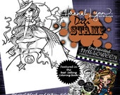 PRINTABLE Digi Stamp Victoria Witch Enchanted Halloween Coloring Page Fun Fantasy Art Hannah Lynn