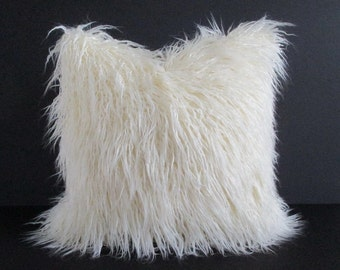 Ivory Faux Fur Pillow Cover Curly Mongolian Lamb Zipper
