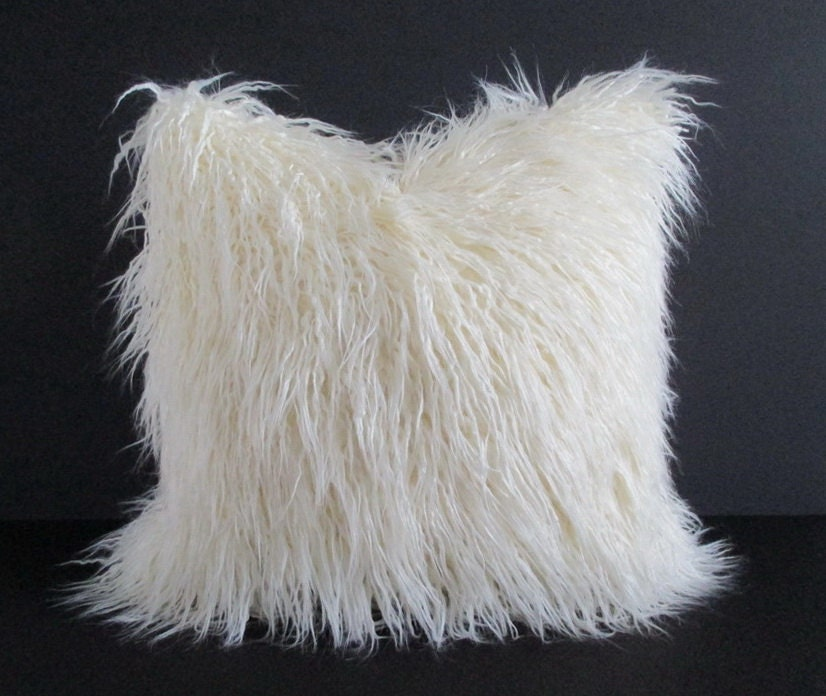 Ivory not white faux fur pillow cover curly mongolian lamb for White faux fur pillow