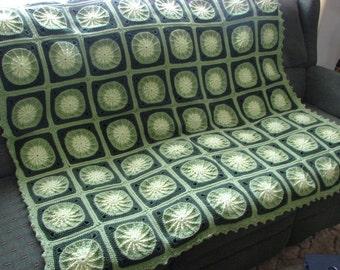Handmade Crochet Pinwheel in a Square Afghan Shades of Green 57 x 57