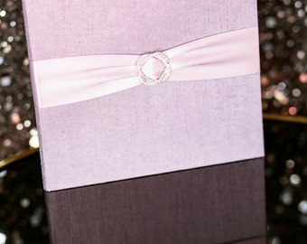 Folio Only - Elegant Silk Covered Book Folio with Bling for Wedding Invitations