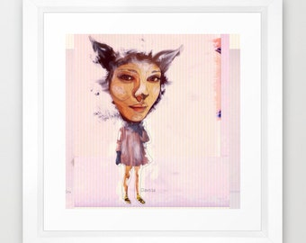 Fox Girl Quirky Art iPhonography Pop Surrealism Giclee Print Wall Art