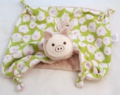 Pig Security Blanket, Animal Blanket Doll, Minky and Cotton Baby Blanket, Lovey for a Baby Boy, Stuffed Animal, Personalized Gift, Baby Boy