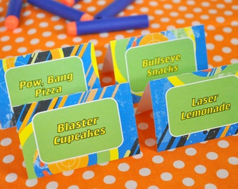 Boys Birthday Party Food Labels, Laser Tag Birthday, Candy Labels, Place cards, Dart Gun Blaster Party, Personalized and Printed - Set of 12