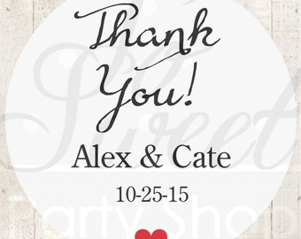 Thank You Stickers (Thank You) - Wedding Favor Stickers - Personalized Stickers - Bridal Shower, Baby Shower Favors - Set of 24