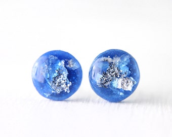royal blue and silver leaf resin post earrings, blue stud earrings, blue and silver glitter earrings on sterling silver posts