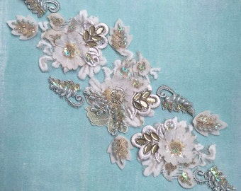 Gold/ivory beaded lace appliqué