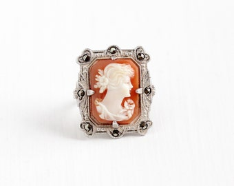 Vintage Art Deco Sterling Silver Marcasite Cameo Ring - 1930s Size 4 1/4 Genuine Carved Shell Statement Heart Milgrain Classic Uncas Jewelry