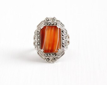 Vintage Art Deco Sterling Silver Orange & White Banded Agate Ring - Antique 1920s Size 6 Striped Gemstone Marcasite Statement Shield Jewelry