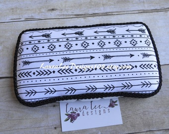 Black and White Arrows and Aztec Design Boutique Style Travel Baby Wipe Case, Personalized Wipe Case, Diaper Wipes Case, Baby