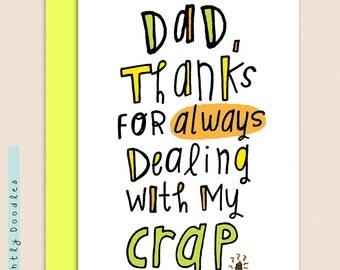 FATHERS Day Card 4 1/2 x 5 1/2 card, Fathers Day card for brother, Fathers Day Card for Friend. Blank Greeting Card.