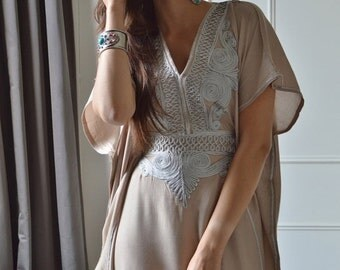 CIJ Sale Summer Trendy Clothing Beige Resortwear Caftan Kaftan-perfect for beach cover up, lounge wear,maternity wear, birthday, wedding