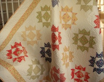 Handmade Quilt - Patchwork Throw Quilt in Primary Colors and Cream