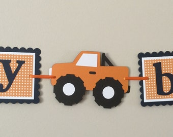 Small Navy &  Orange monster truck Happy Birthday Banner ready to ship monster truck