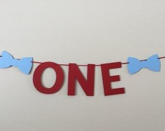 "Red & Blue Bow tie ""One"" Banner little man 1st birthday"