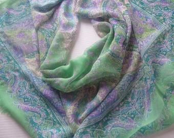 Ralph Lauren Beauty silk scarf paisley fringe green lavender