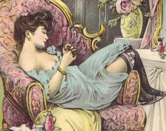Charming Risque Illustrator Image, American Postcard circa 1910s