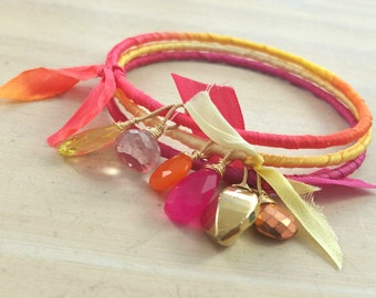 Silk wrapped gemstone stacking bangle trio. Tropical. #makeforgood
