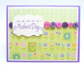 Classy Mother's Day Card, Purple and Green Card, Card for Mom, Handmade Paper Greeting Card