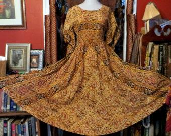 Fabulous Indian Cotton Print Dress with Pake Mu Style Sleeves