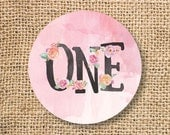 First Birthday Favor Tag Circles Girl Pink One 1st Birthday Watercolor Pink Floral Twin Girls Printable Favor Circles - INSTANT DOWNLOAD