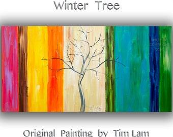 Original oil painting impasto texture Winter colorful Tree art by Tim Lam 48x24