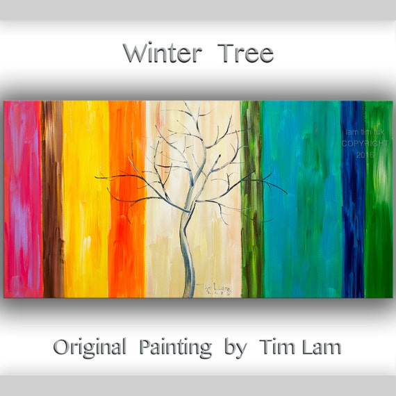 Original oil painting impasto texture Winter colorful Tree art by Tim Lam 48x24