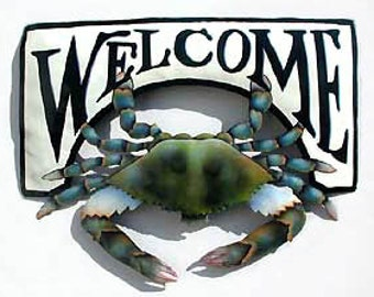 Metal Welcome Sign - Painted Metal Blue Crab, Nautical Metal Art - Tropical Decor, Recycled Haitian Steel Drum Art - Garden Decor -K7066-CW