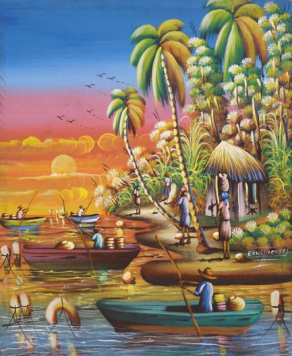 Haitian Painting Haitian Art Original Painting Canvas