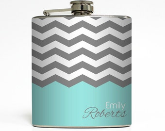 Personalized Flask Custom Color Chevron Name Monogram 21st Birthday Sorority Bridesmaid Gifts Stainless Steel 6 oz Liquor Hip Flask LC-1226