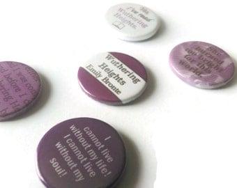Wuthering Heights Bronte badges or magnet set of 5 -  pins buttons stocking filler men gift Etsy uk