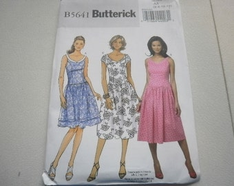 Pattern Ladies Dress 3 Styles Sizes 6 to 12 Butterick 5641