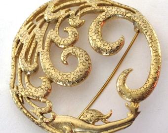 Vintage MJ ENT gold Brooch Pin mermaid woman diving in water
