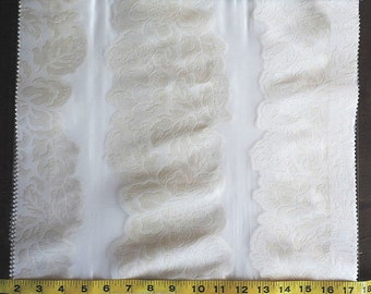 Custom Curtains in Sheer Ivory with Pearl Floral Stripe Pattern One Panel Custom sizes available