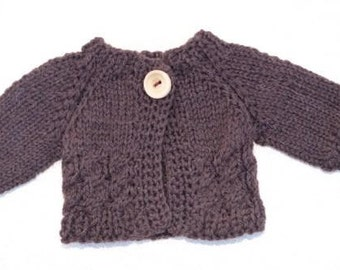 Waldorf Doll Clothes - Brown knitted Sweater , fit 10 inch dolls