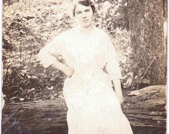 Girl Sitting on a Log - Vintage Photograph - Ephemera - Vernacular (A)