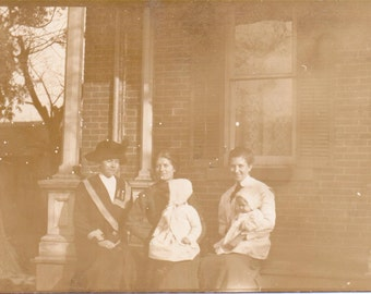 Ladies on the Porch - Vintage Photographs, Ephemera, Vernacular, Found Photo (A)