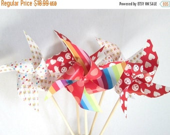 SALE 50% OFF Valentines Favors Paper Pinwheels Rainbow Favors Polka Dot Favors Smiley Face Pinwheels Hearts Favors Heart Pinwheels  Table Ce