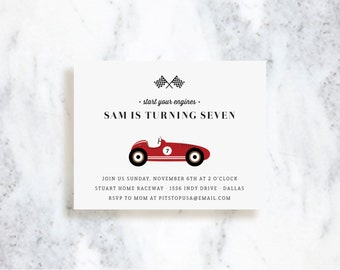 Race Car Invitations | Birthday | Baby Shower | Choose Your Colors