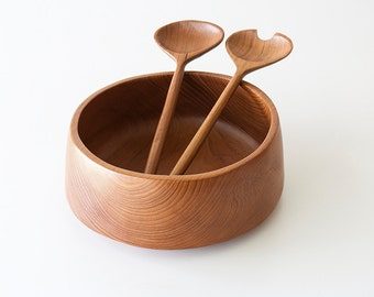Vintage Danish Modern Teak Salad Bowl & Utensils