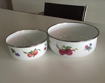 Enamel Bowls/ Bowl Set/Nesting Bowls/Vintage Kobe Enamel Nesting Bowls Mixing Bowls/ Serving Bowls/Floral Pattern/ By Gatormom13