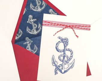 Navy Military Sailor Love Card with Glitter Anchor Red White and Blue Nautical